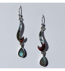 Boucles d'oreilles argent et labradorite BO461