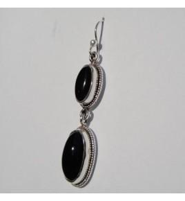 Boucles d'oreilles argent et onyx BO363