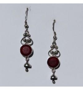 Boucles d'oreilles argent et racine de rubis BO504