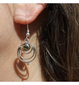 Boucles d'oreilles argent et peridot