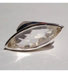 Bague argent et cristal de roche T 60 - R453
