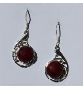 Boucles d'oreilles argent et racine de rubis BO494