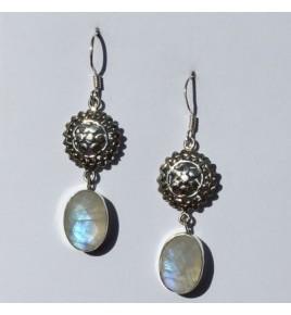 Boucles d'oreilles argent et pierre de lune BO472