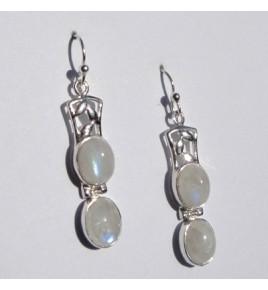 Boucles d'oreilles argent et pierre de lune BO387
