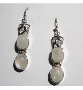Boucles d'oreilles argent et pierre de lune