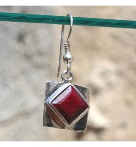Boucles d'oreilles argent et racine de rubis BO499