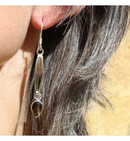 Boucles d'oreilles argent et quartz fume