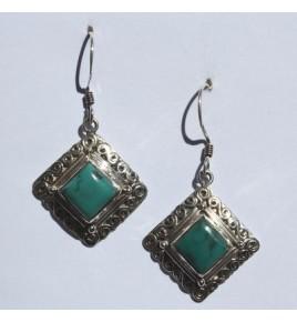 Boucles d'oreilles argent et turquoise BO476