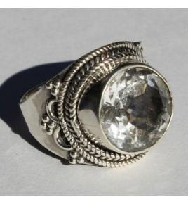 Bague argent et cristal de roche T 58 - R579