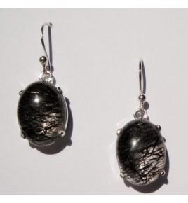Boucles d'oreilles argent et quartz tourmaline BO436