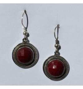 Boucles d'oreilles argent et racine de rubis BO496