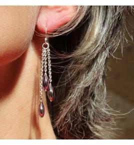Boucles d'oreilles argent et amethyste