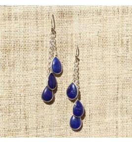 Boucles d'oreilles argent et lapis lazuli BO515
