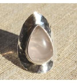 Bague argent et quartz rose T 59 - R663