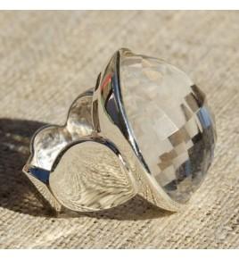 Bague argent et cristal de roche T 59 - R653