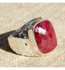 Bague argent et racine de rubis T 55 - R640