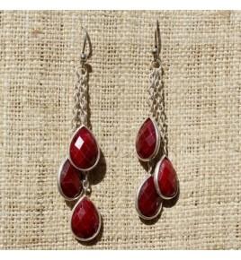 Boucles d'oreilles argent et racine de rubis