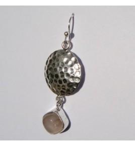Boucles d'oreilles argent et quartz rose BO350