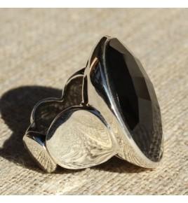 Bague argent et onyx T 55 - R619