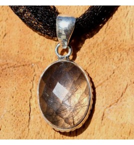 Pendentif argent et quartz tourmaline