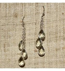 Boucles d'oreilles argent et prasiolite