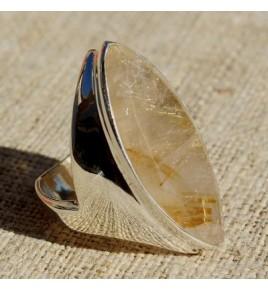 Bague argent et quartz rutile T 52 - R655