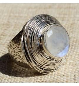Bague argent et pierre de lune T 58 - R679