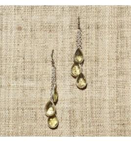 Boucles d'oreilles argent et quartz lemon