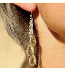 Boucles d'oreilles argent et quartz lemon BO526