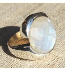 Bague argent et pierre de lune T 56 - R608