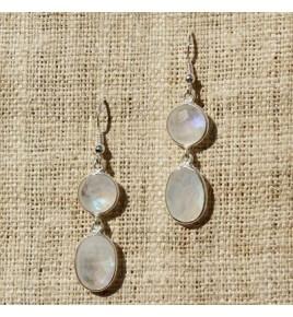 Boucles d'oreilles argent et pierre de lune BO548
