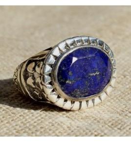 Bague argent et lapis lazuli T 56 - R689