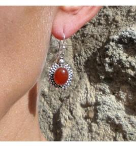 Boucles d'oreilles argent et cornaline BO380