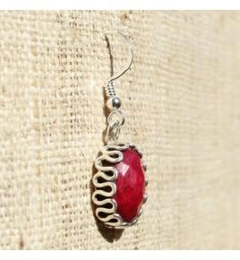 Boucles d'oreilles argent et racine de rubis BO518