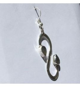 Boucles d'oreilles argent et labradorite BO486