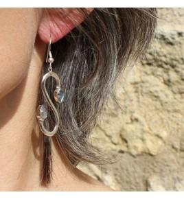 Boucles d'oreilles argent et labradorite