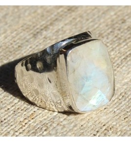 Bague argent et pierre de lune T 56 - R607