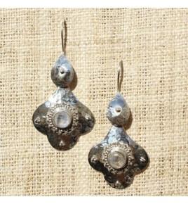 Boucles d'oreilles argent et pierre de lune BO535