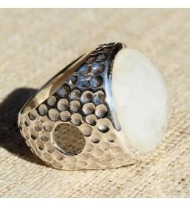 Bague argent et pierre de lune T 53 - R610