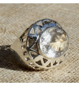 Bague argent et cristal de roche T 55- R687