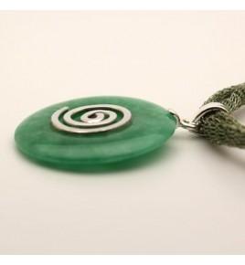 Pendentif argent et jade vert