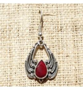 Boucles d'oreilles argent et racine de rubis BO519
