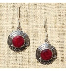 Boucles d'oreilles argent et racine de rubis BO538