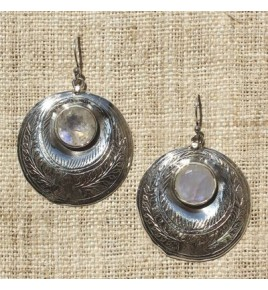 Boucles d'oreilles argent et pierre de lune BO530