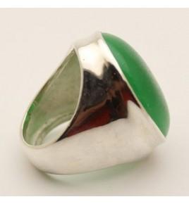 Bague argent et jade vert T 59 - R710
