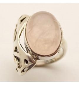 Bague argent et quartz rose T 59 - R753