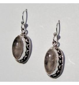 Boucles d'oreilles argent et quartz rose BO366