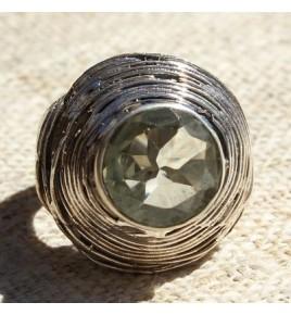 Bague argent et prasiolite T 60 - R682
