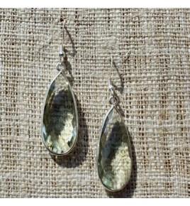 Boucles d'oreilles argent et prasiolite BO554