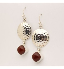Boucles d'oreilles argent et cornaline BO603